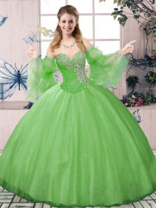 Low Price Green Sweetheart Lace Up Beading Quince Ball Gowns Long Sleeves