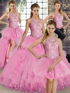 Lovely Sleeveless Lace and Embroidery and Ruffles Lace Up Quinceanera Dress