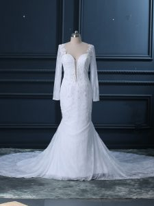 White Mermaid Tulle and Lace Sweetheart Long Sleeves Beading and Lace Backless Wedding Dress Court Train