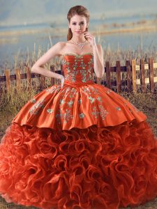 Orange Red Sleeveless Fabric With Rolling Flowers Brush Train Lace Up Sweet 16 Dress for Sweet 16 and Quinceanera