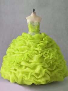 Beautiful Organza Sweetheart Sleeveless Lace Up Beading and Pick Ups and Hand Made Flower 15th Birthday Dress in Yellow Green