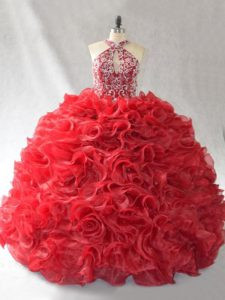 Sexy Red Halter Top Lace Up Beading and Ruffles Quinceanera Dress Brush Train Sleeveless
