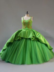 Court Train Ball Gowns Quinceanera Gowns Green Straps Satin and Tulle Sleeveless Lace Up