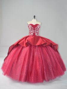 Flare Wine Red Sleeveless Satin and Tulle Court Train Lace Up Vestidos de Quinceanera for Sweet 16 and Quinceanera