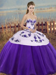 Floor Length White And Purple Quince Ball Gowns Sweetheart Sleeveless Lace Up