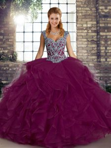 Fuchsia Straps Lace Up Beading and Ruffles Quinceanera Gowns Sleeveless