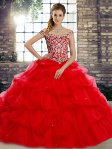 Luxurious Red 15th Birthday Dress Military Ball and Sweet 16 and Quinceanera with Beading and Pick Ups Off The Shoulder Sleeveless Brush Train Lace Up