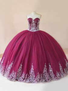Colorful Burgundy Ball Gowns Sweetheart Sleeveless Tulle Floor Length Lace Up Embroidery Quinceanera Dress