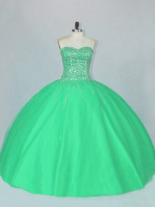 Stylish Beading Quinceanera Gown Green Lace Up Sleeveless Floor Length