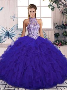 Halter Top Sleeveless Quinceanera Gowns Floor Length Beading and Ruffles Purple Tulle