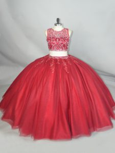 Customized Sleeveless Floor Length Beading and Appliques Zipper Sweet 16 Quinceanera Dress with Red