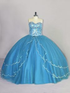 Great Blue Sleeveless Brush Train Beading Sweet 16 Quinceanera Dress