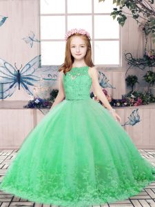 Green Ball Gowns Tulle Scoop Sleeveless Lace and Appliques Floor Length Backless Pageant Gowns