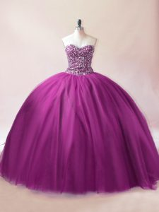 Dynamic Sweetheart Sleeveless Lace Up Quinceanera Dresses Purple Tulle