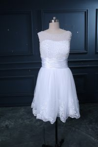 Captivating Tulle Sleeveless Wedding Gown and Beading and Lace