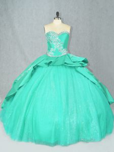 Ball Gowns Sleeveless Turquoise Quinceanera Dress Court Train Lace Up
