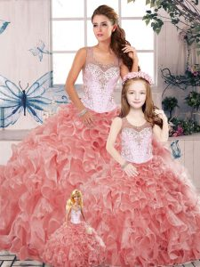 Sleeveless Clasp Handle Floor Length Beading and Ruffles Sweet 16 Dress
