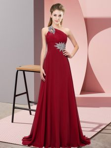 Wine Red One Shoulder Neckline Beading Pageant Dress Womens Sleeveless Lace Up
