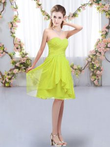 Sophisticated Sleeveless Lace Up Knee Length Ruffles and Ruching Dama Dress