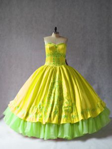 Great Yellow Sweetheart Neckline Embroidery 15th Birthday Dress Sleeveless Lace Up