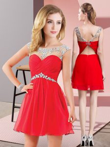 Decent Chiffon Scoop Sleeveless Backless Beading Prom Evening Gown in Red