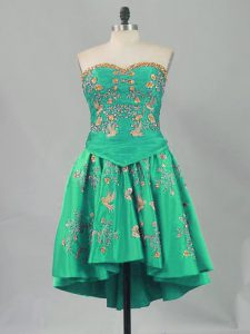 Delicate Turquoise Sweetheart Neckline Embroidery Homecoming Dress Sleeveless Lace Up