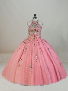Fashion Pink Ball Gowns Tulle Halter Top Sleeveless Appliques and Embroidery Lace Up 15 Quinceanera Dress Brush Train