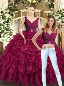 Traditional Floor Length Two Pieces Sleeveless Burgundy Quinceanera Dress Backless