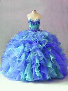 Glamorous Multi-color Sleeveless Organza Lace Up Quinceanera Dress for Sweet 16 and Quinceanera