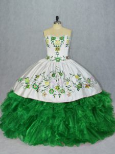 Designer Green Sweetheart Lace Up Embroidery and Ruffles Quince Ball Gowns Sleeveless