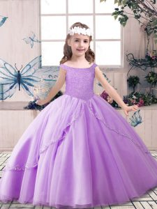 Perfect Sleeveless Floor Length Beading Lace Up Pageant Dress Toddler with Lavender