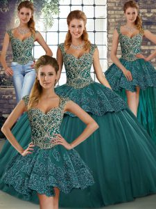 Green Lace Up Quinceanera Dress Beading and Appliques Sleeveless Floor Length