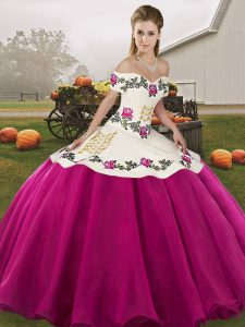 New Style Ball Gowns Quinceanera Dress Fuchsia Off The Shoulder Organza Sleeveless Floor Length Lace Up