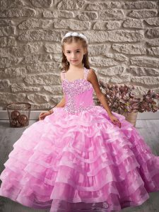 Beading and Ruffled Layers Pageant Dress Toddler Lilac Lace Up Sleeveless Brush Train