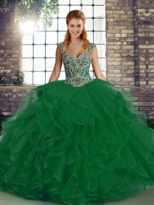 Attractive Green Ball Gowns Beading and Ruffles Sweet 16 Dresses Lace Up Tulle Sleeveless Floor Length