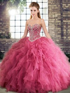 Watermelon Red Lace Up Sweet 16 Dress Beading and Ruffles Sleeveless Floor Length