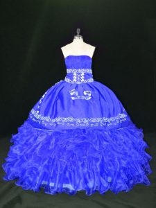 Ideal Blue Sleeveless Floor Length Embroidery and Ruffles Lace Up Sweet 16 Dresses