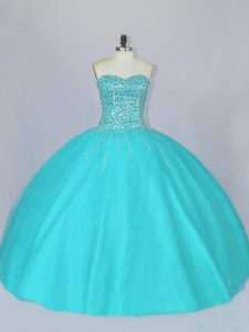 Discount Floor Length Aqua Blue Quinceanera Gown Sweetheart Sleeveless Lace Up