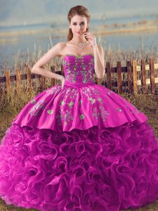 Luxury Fuchsia Lace Up Sweet 16 Quinceanera Dress Embroidery and Ruffles Sleeveless Brush Train