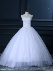 White Sweetheart Lace Up Beading and Lace Wedding Gown Sleeveless