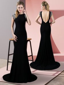 Black Mermaid Elastic Woven Satin High-neck Short Sleeves Beading Backless Evening Dresses Brush Train