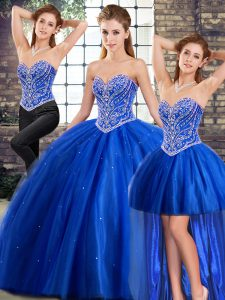 Great Blue Quinceanera Dresses Tulle Brush Train Sleeveless Beading