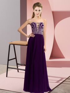 Graceful Sleeveless Floor Length Beading Lace Up Homecoming Dress with Dark Purple