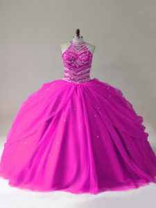 Top Selling Fuchsia Ball Gowns Halter Top Sleeveless Tulle Lace Up Beading 15 Quinceanera Dress