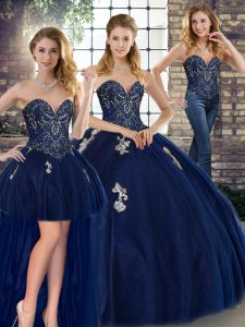 Sweetheart Sleeveless Ball Gown Prom Dress Floor Length Beading and Appliques Navy Blue Tulle