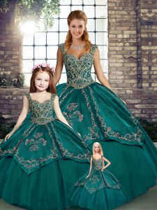 Ball Gowns Quinceanera Dress Teal Straps Tulle Sleeveless Floor Length Lace Up