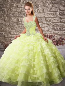 Yellow Green Lace Up Quinceanera Dresses Beading and Ruffled Layers Sleeveless Court Train