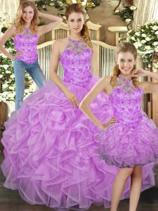 Modern Halter Top Sleeveless Tulle Quinceanera Dress Beading and Ruffles Lace Up