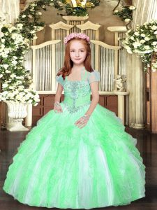Straps Sleeveless Lace Up Winning Pageant Gowns Tulle