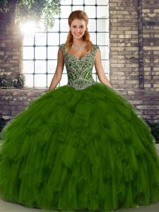 Olive Green Organza Lace Up Straps Sleeveless Floor Length 15th Birthday Dress Beading and Ruffles